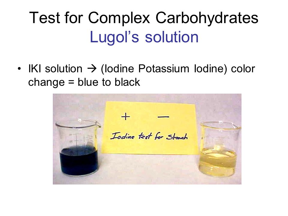 Test for Complex Carbohydrates Lugol's solution