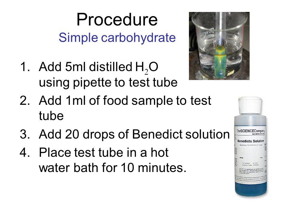 Procedure Simple carbohydrate