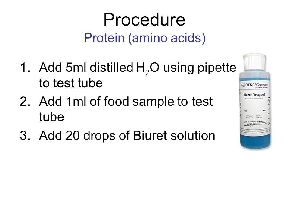 Procedure Protein (amino acids)