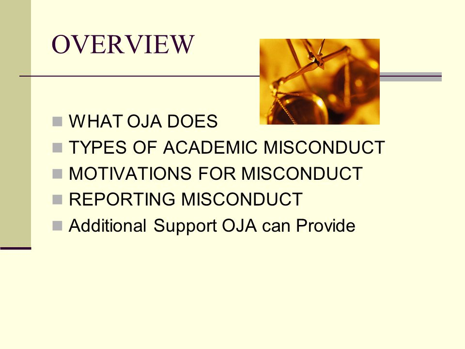 OVERVIEW WHAT OJA DOES TYPES OF ACADEMIC MISCONDUCT