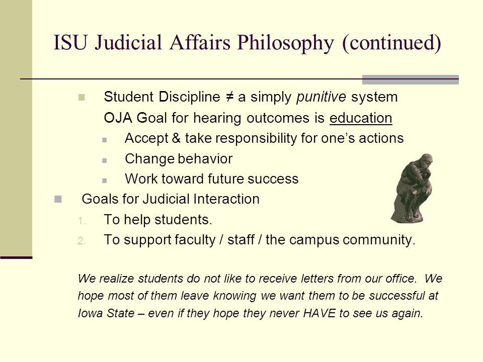 ISU Judicial Affairs Philosophy (continued)