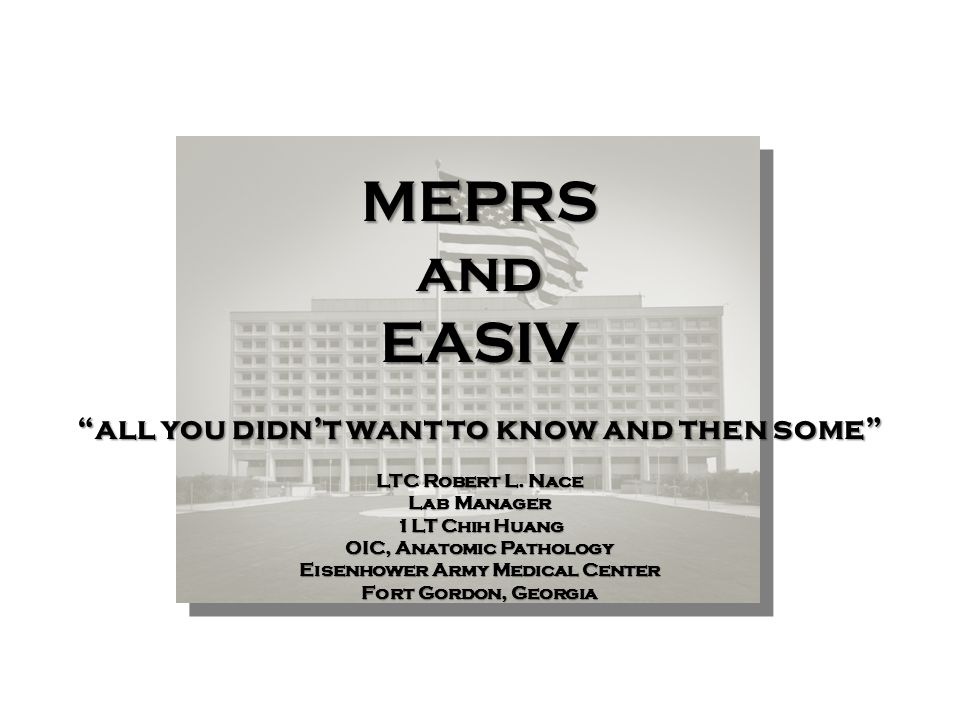 MEPRS and EASIV all you didn't want to know and then some