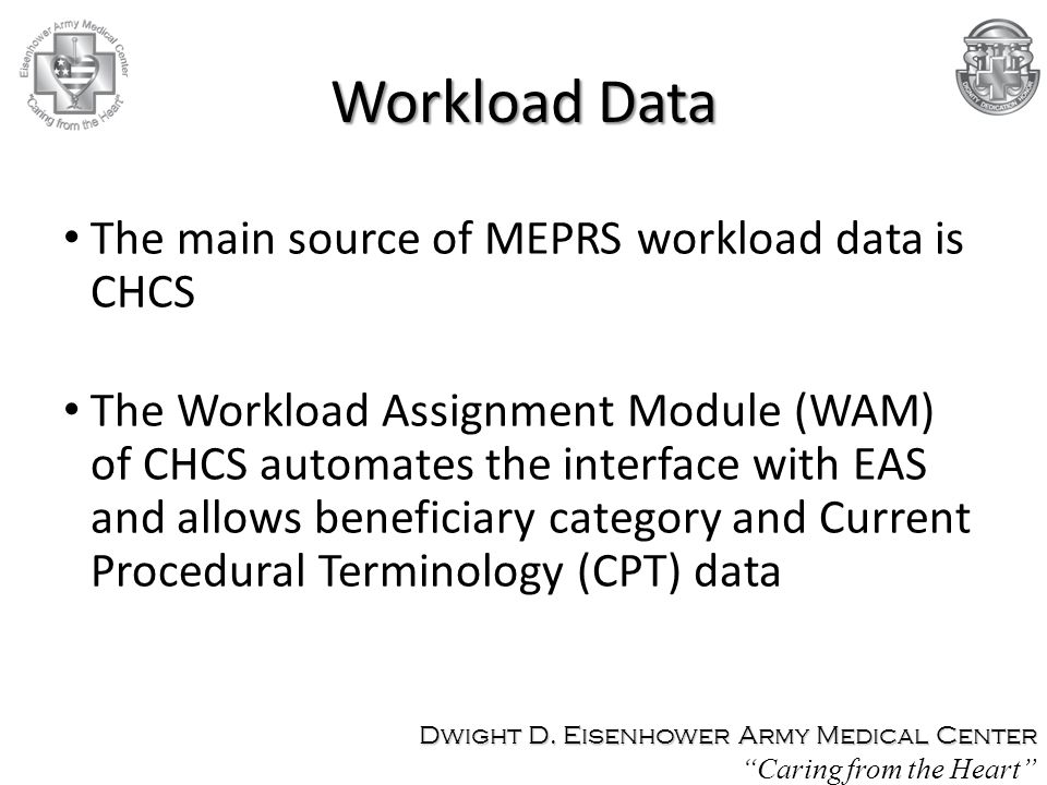 Workload Data The main source of MEPRS workload data is CHCS