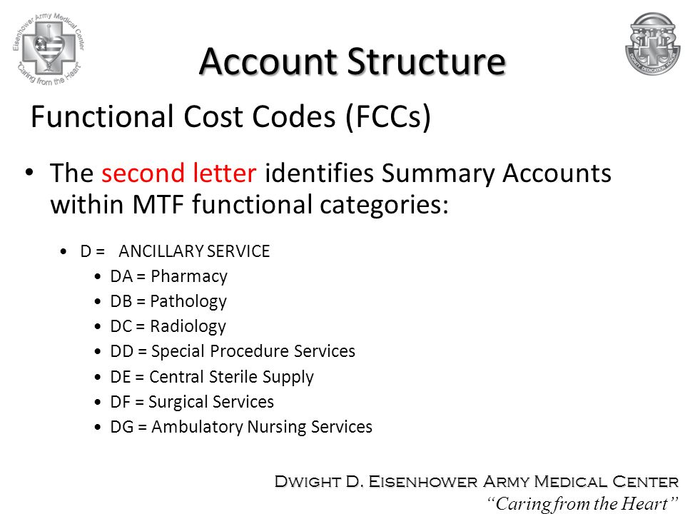 Account Structure Functional Cost Codes (FCCs)