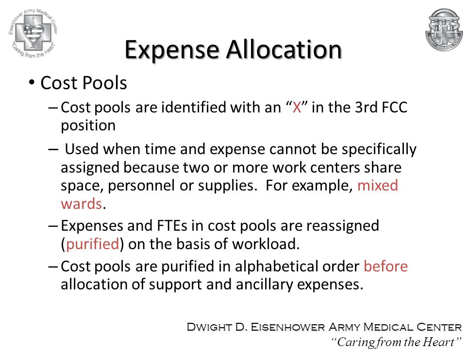 Expense Allocation Cost Pools