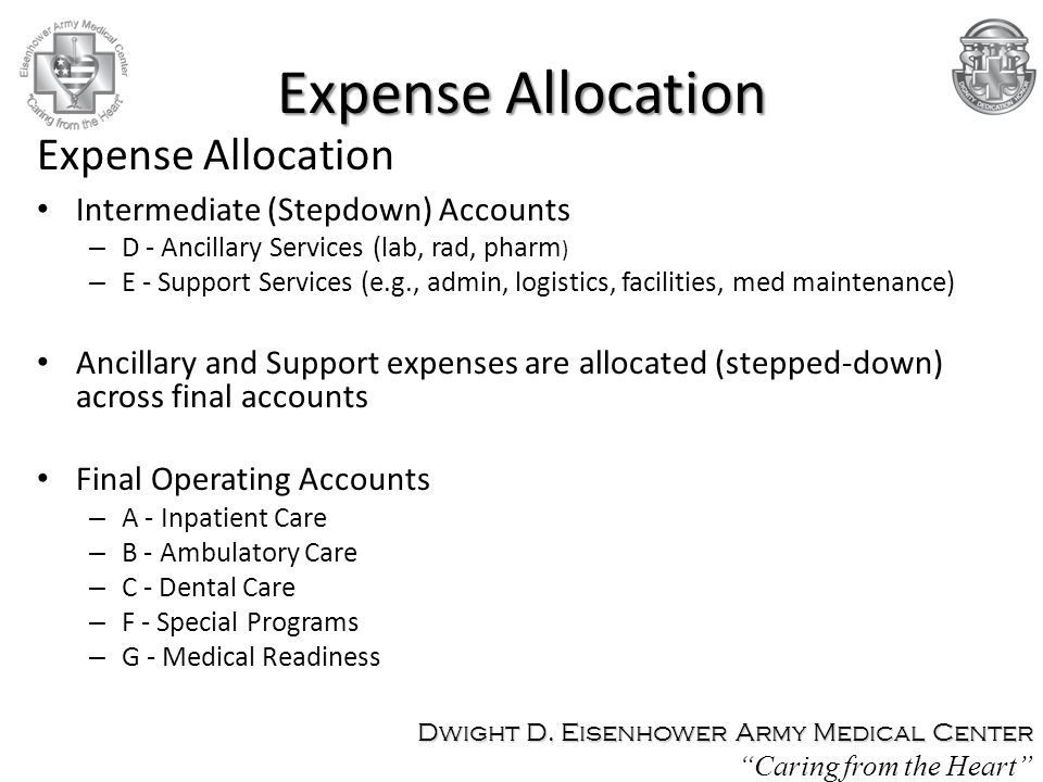 Expense Allocation Expense Allocation Intermediate (Stepdown) Accounts