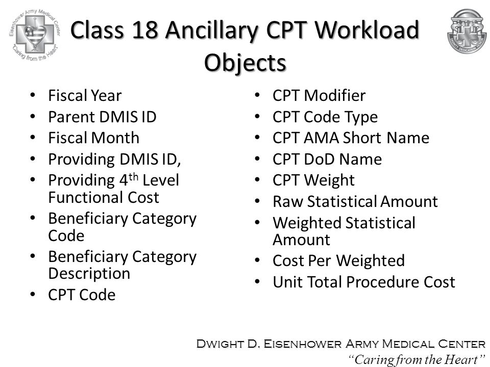 Class 18 Ancillary CPT Workload Objects