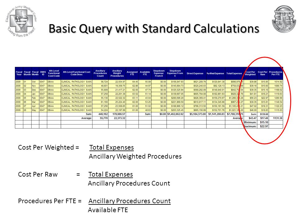 Basic Query with Standard Calculations