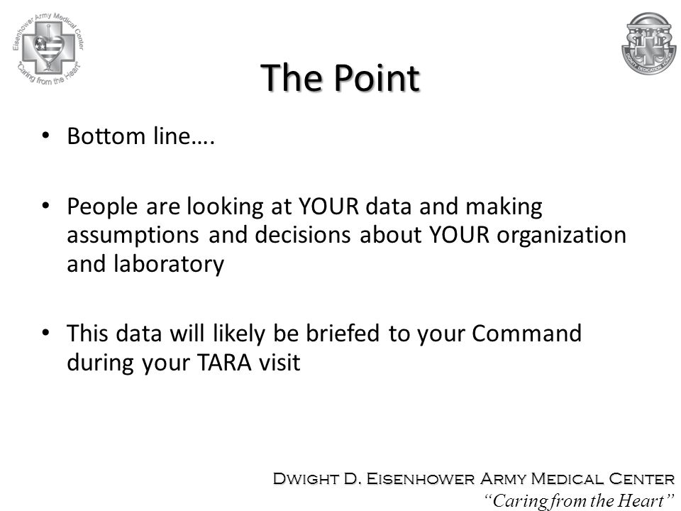 The Point Bottom line…. People are looking at YOUR data and making assumptions and decisions about YOUR organization and laboratory.
