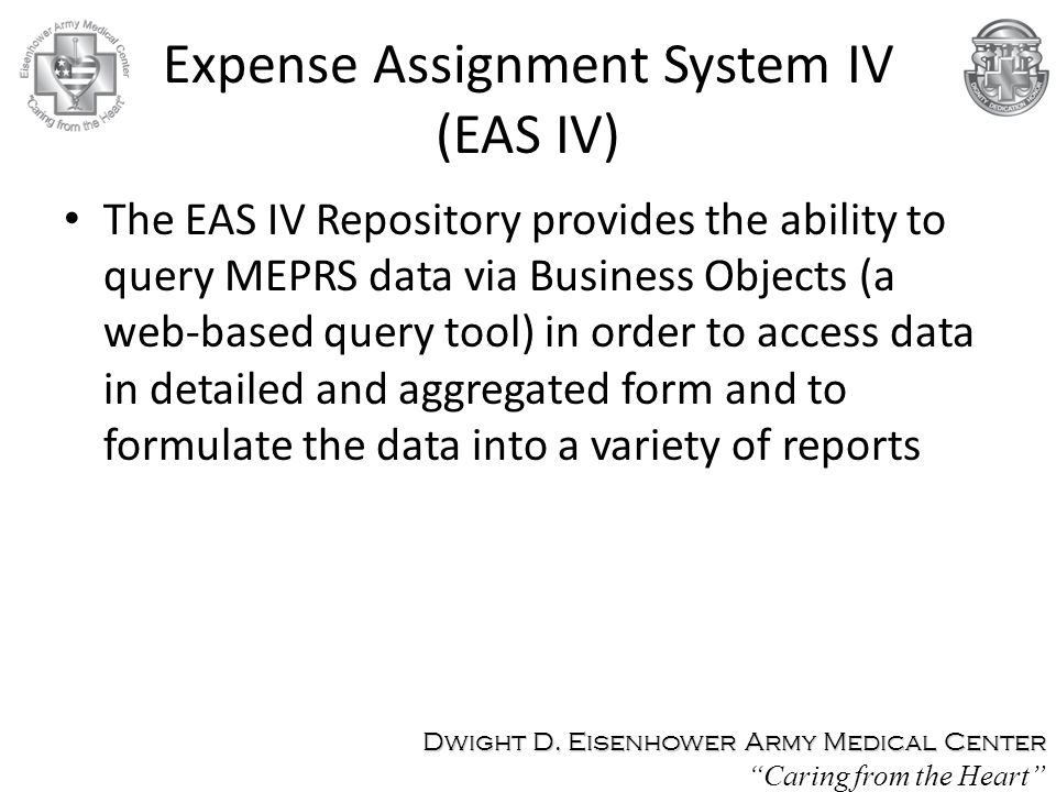 Expense Assignment System IV (EAS IV)