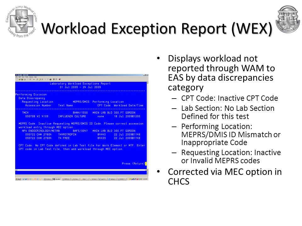 Workload Exception Report (WEX)