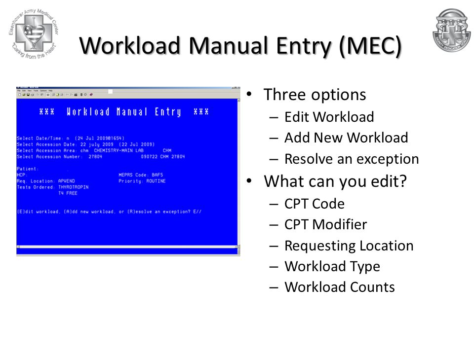 Workload Manual Entry (MEC)