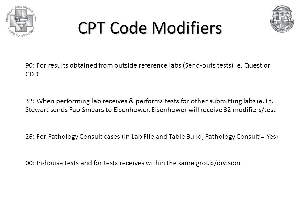 CPT Code Modifiers 90: For results obtained from outside reference labs (Send-outs tests) ie. Quest or CDD.