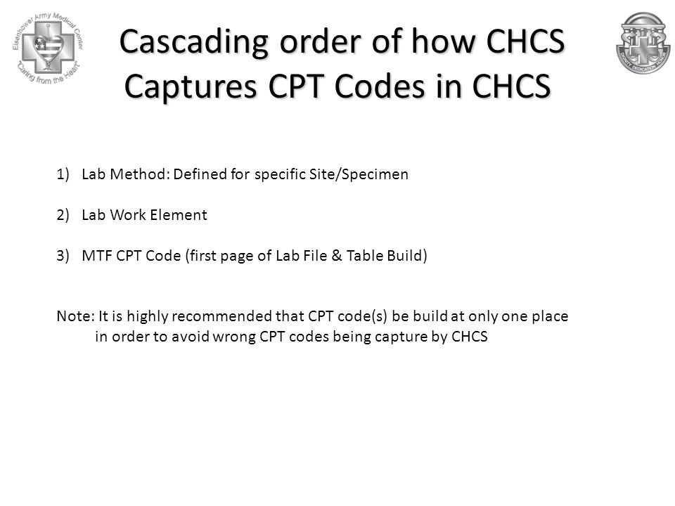 Cascading order of how CHCS Captures CPT Codes in CHCS