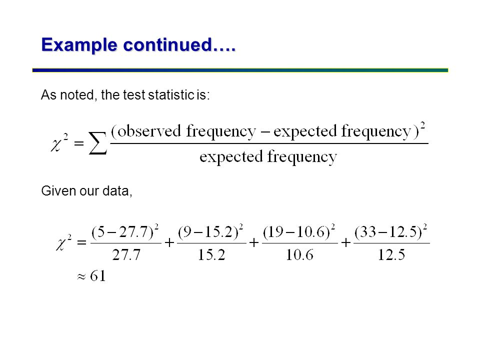 Example continued…. As noted, the test statistic is: Given our data,