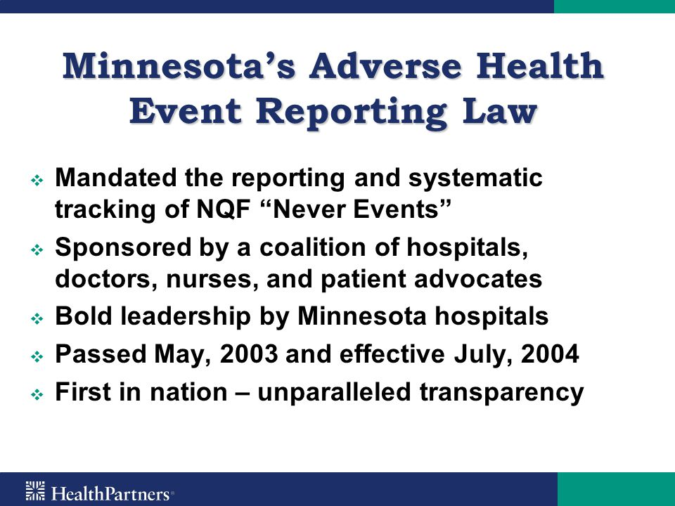 Minnesota's Adverse Health Event Reporting Law