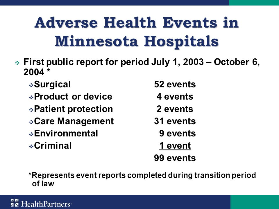Adverse Health Events in Minnesota Hospitals