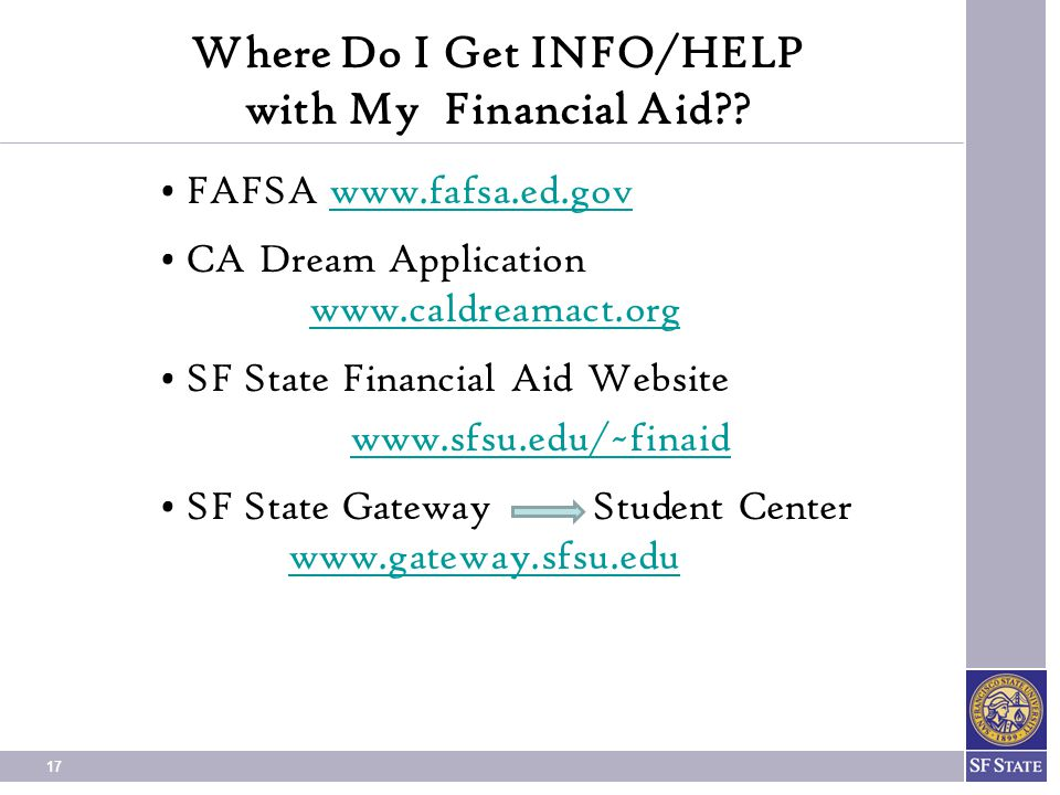 Where Do I Get INFO/HELP with My Financial Aid