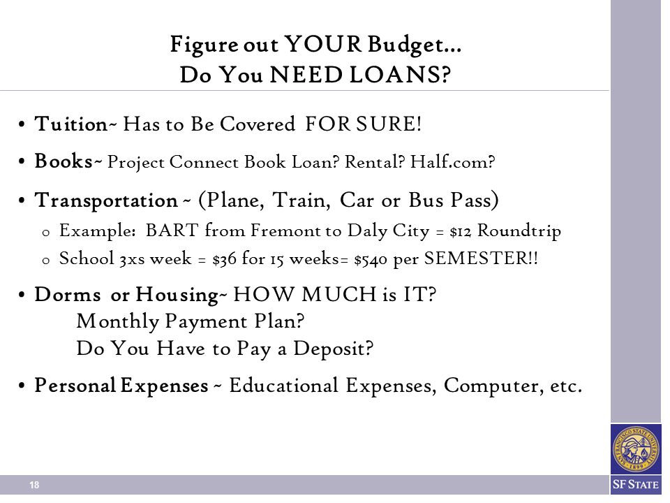 Figure out YOUR Budget… Do You NEED LOANS
