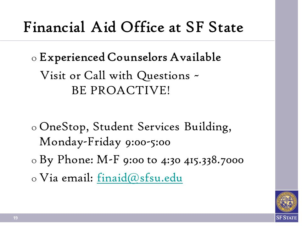 Financial Aid Office at SF State