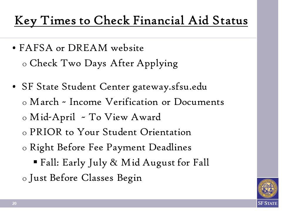 Key Times to Check Financial Aid Status