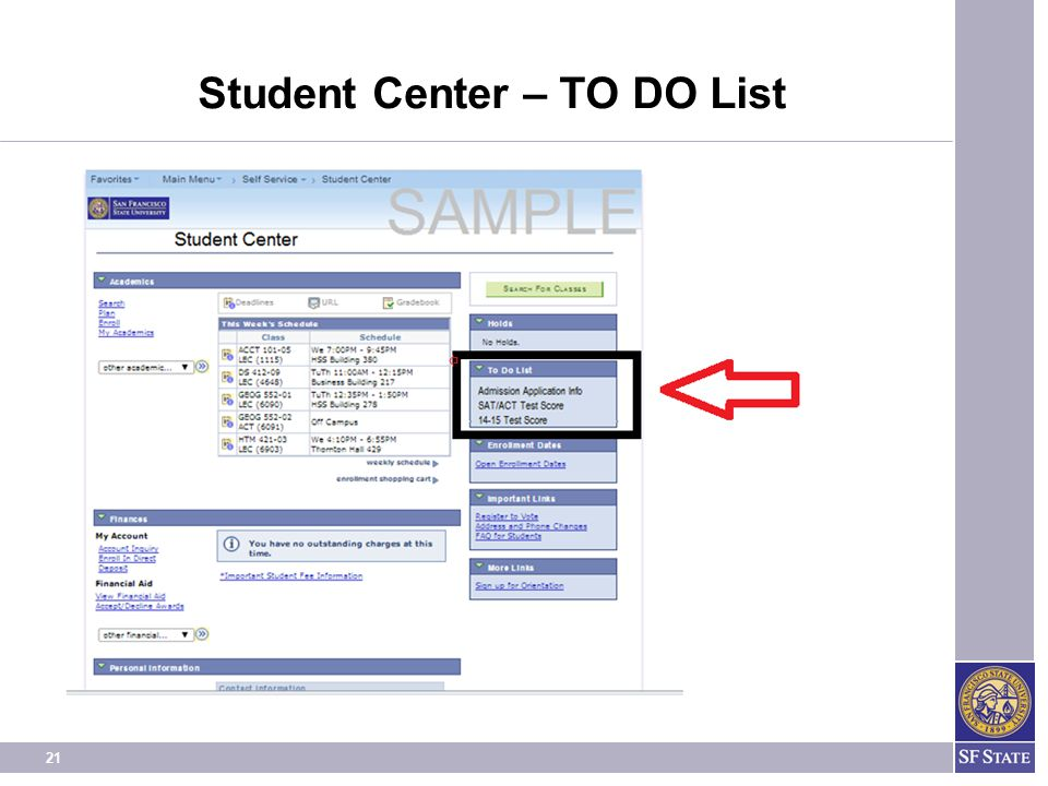 Student Center – TO DO List