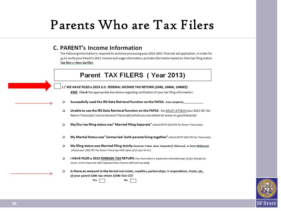 Parents Who are Tax Filers
