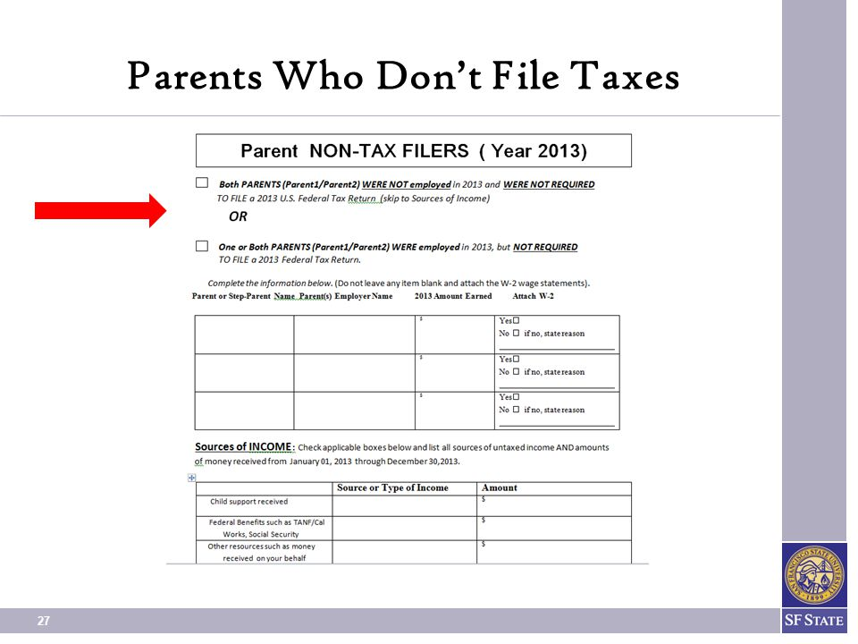Parents Who Don't File Taxes