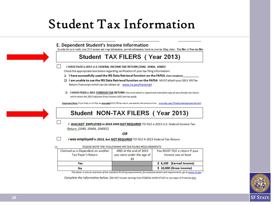 Student Tax Information