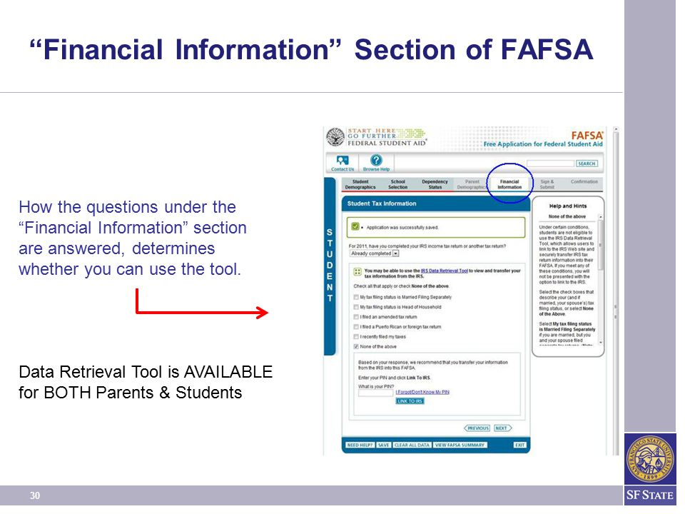 Financial Information Section of FAFSA