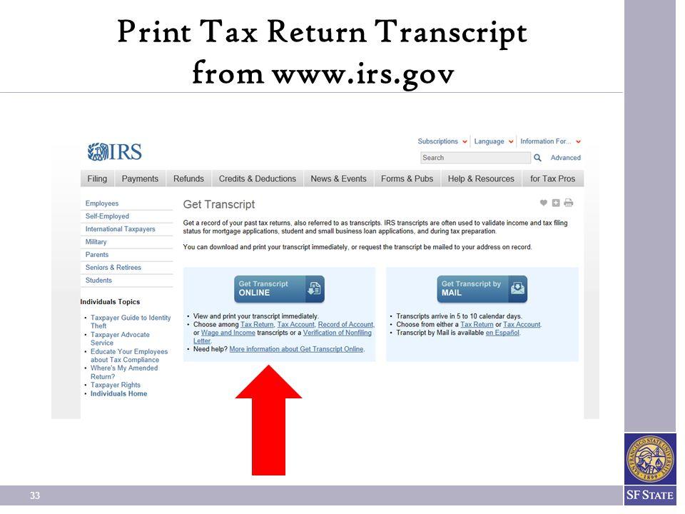 Print Tax Return Transcript from www.irs.gov