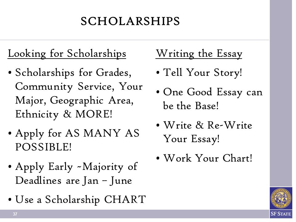 writing scholarships essays This is a sample essay to help guide you when you are writing essays for scholarships keep in mind that all scholarship applications are different, so you may have to design your essay to meet those specific requirements.