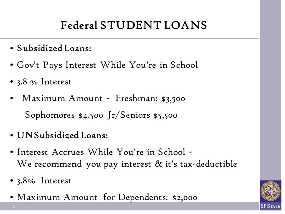Federal STUDENT LOANS Subsidized Loans: