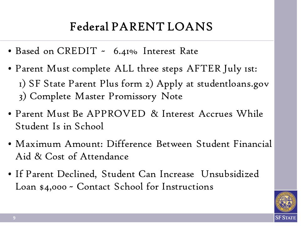 Federal PARENT LOANS Based on CREDIT ~ 6.41% Interest Rate