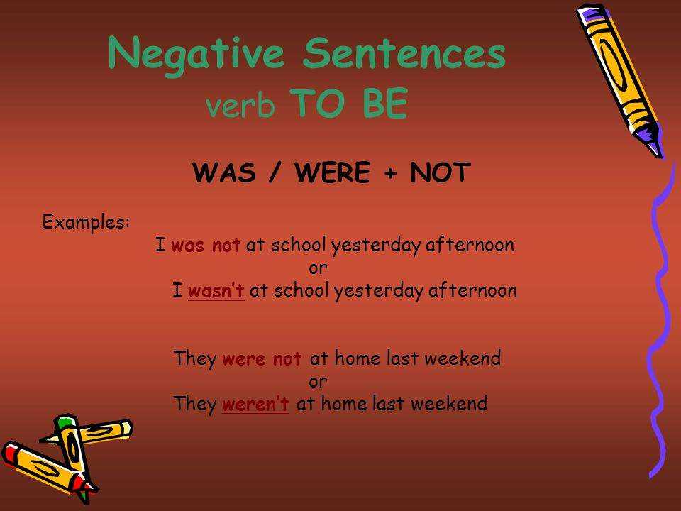 Negative Sentences verb TO BE