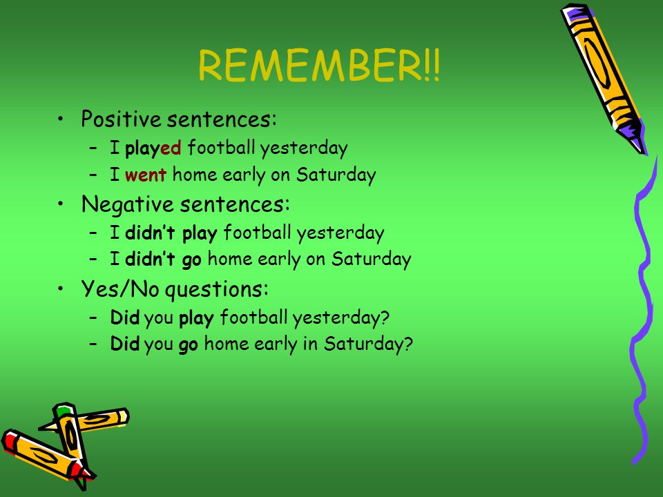 REMEMBER!! Positive sentences: Negative sentences: Yes/No questions: