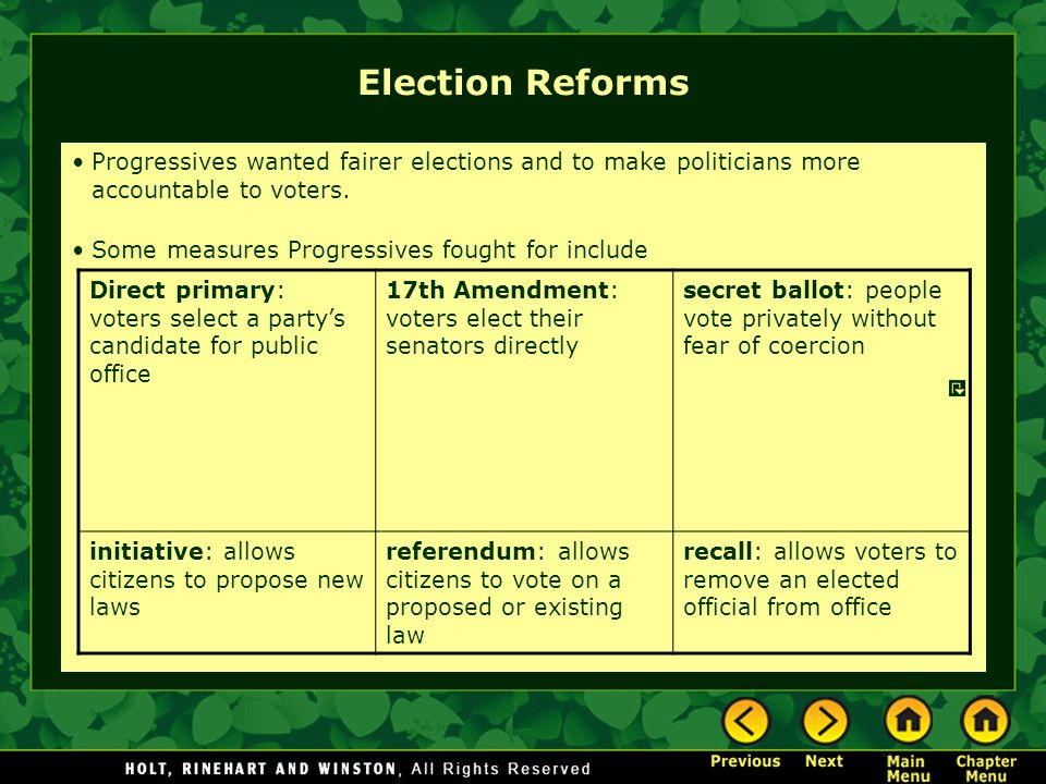 Election Reforms Progressives wanted fairer elections and to make politicians more accountable to voters.