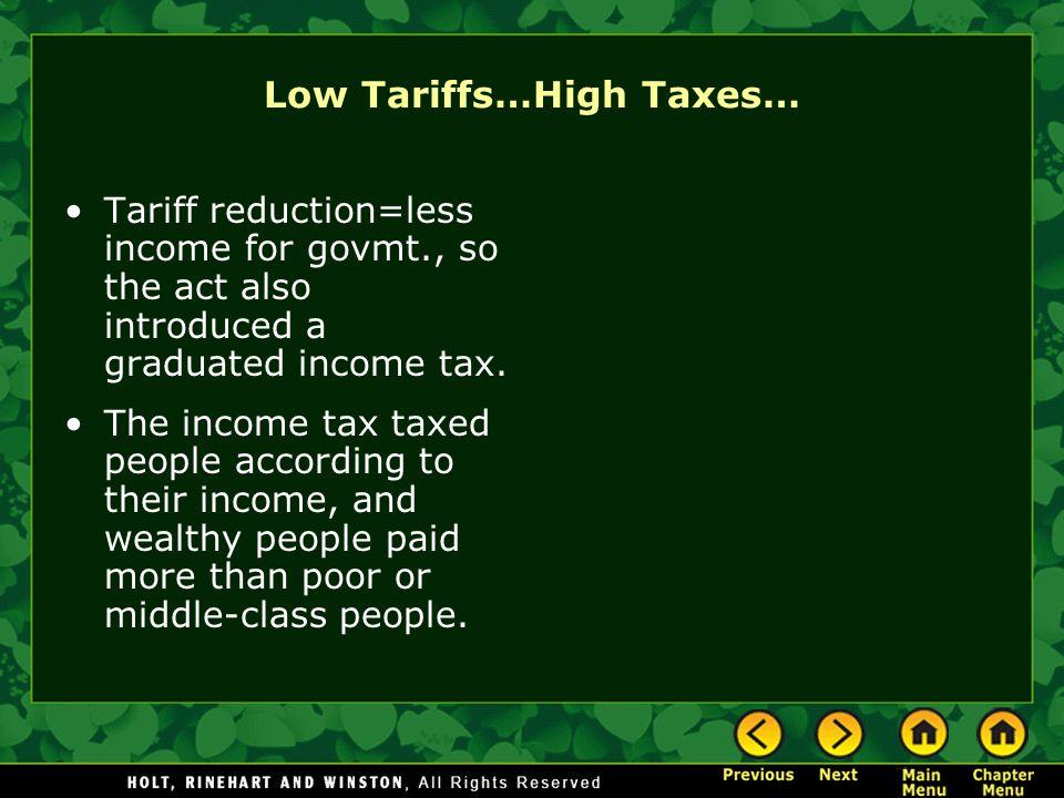 Low Tariffs…High Taxes…