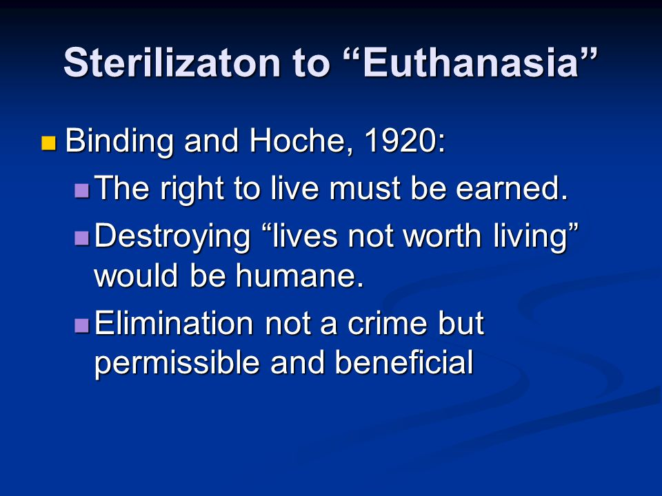 Sterilizaton to Euthanasia