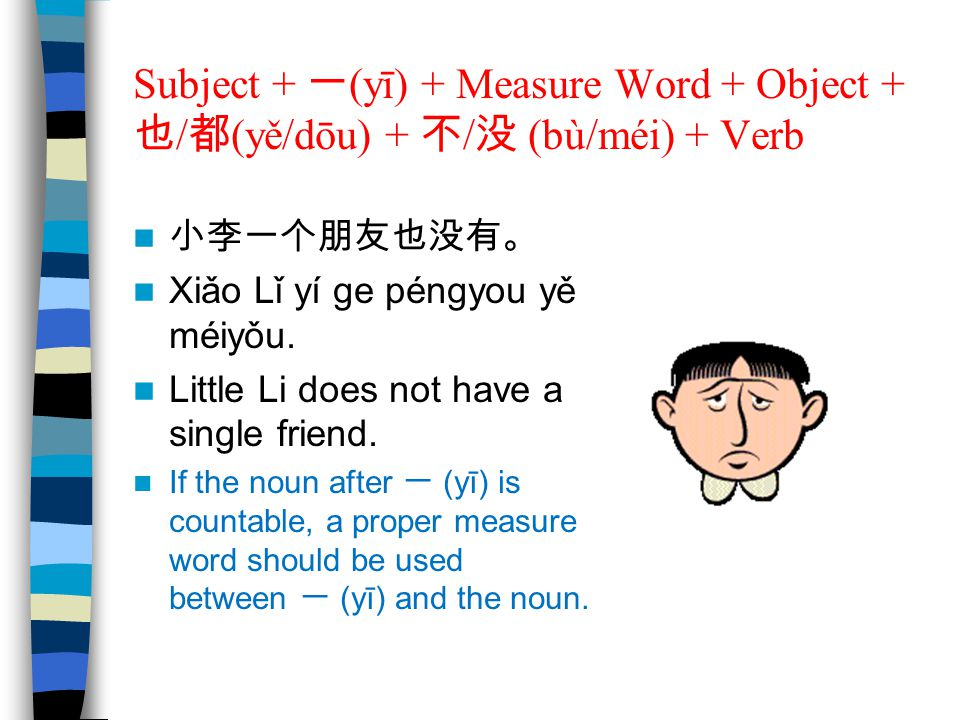 Subject + 一(yī) + Measure Word + Object + 也/都(yě/dōu) + 不/没 (bù/méi) + Verb