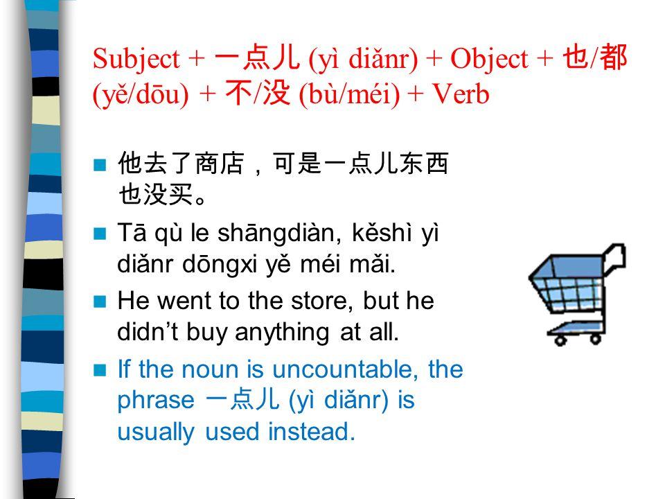Subject + 一点儿 (yì diǎnr) + Object + 也/都 (yě/dōu) + 不/没 (bù/méi) + Verb
