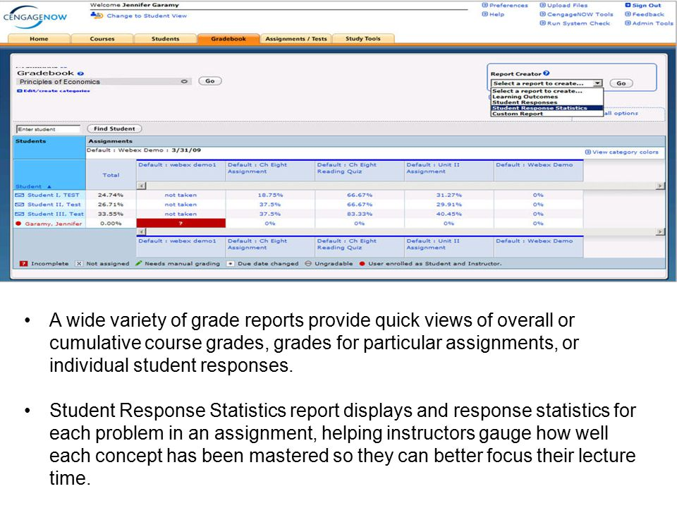 A wide variety of grade reports provide quick views of overall or cumulative course grades, grades for particular assignments, or individual student responses.