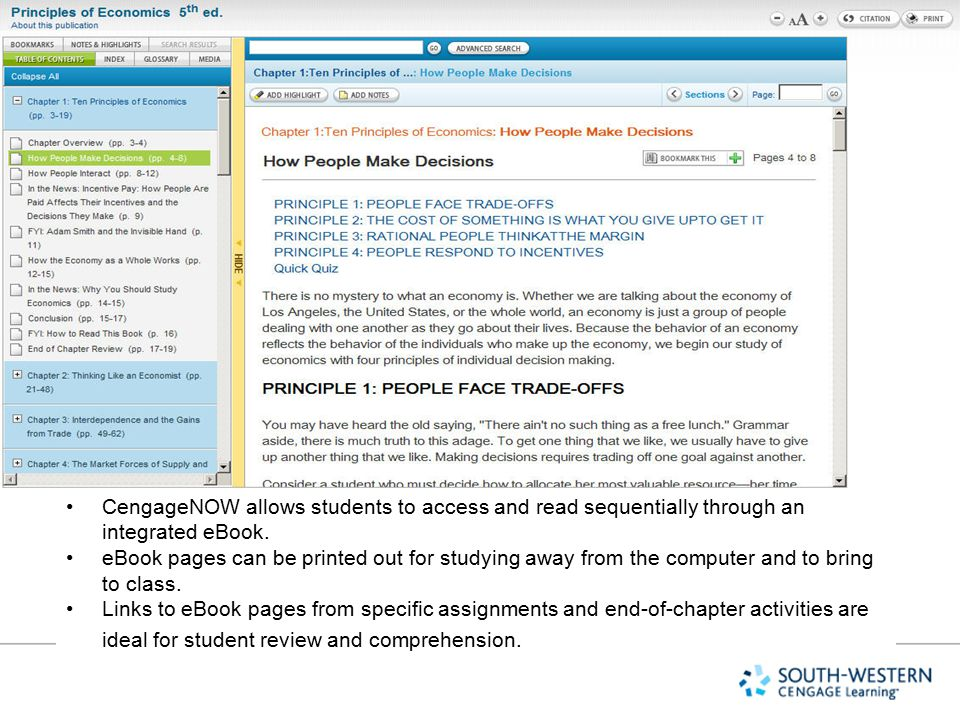 Explain slide CengageNOW allows students to access and read sequentially through an integrated eBook.