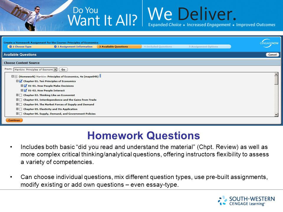 Homework Questions Homework in Clarkson CNOW includes…