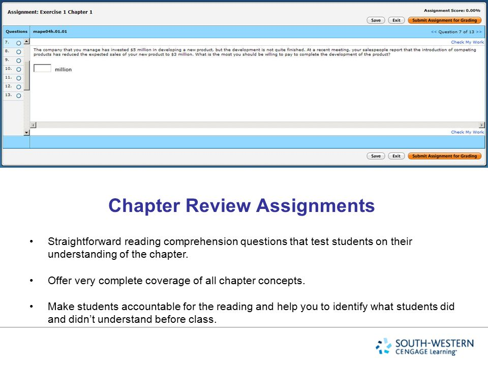 Chapter Review Assignments
