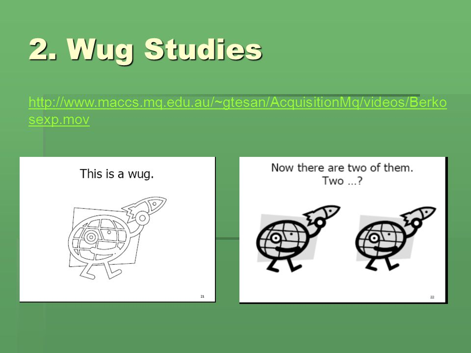 2. Wug Studies http://www.maccs.mq.edu.au/~gtesan/AcquisitionMq/videos/Berkosexp.mov