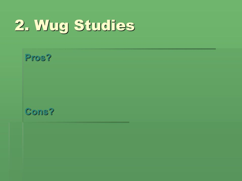 2. Wug Studies Pros Cons