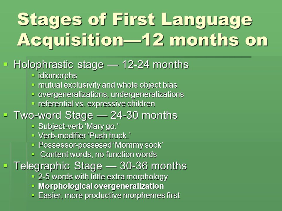 Stages of First Language Acquisition—12 months on