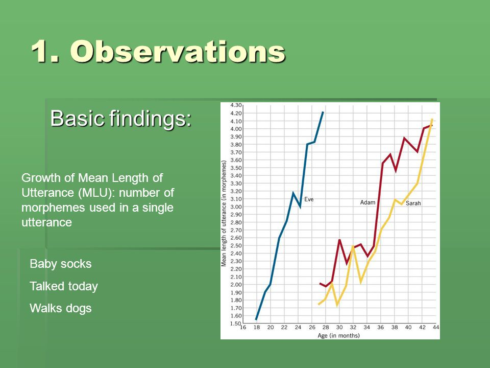 1. Observations Basic findings: