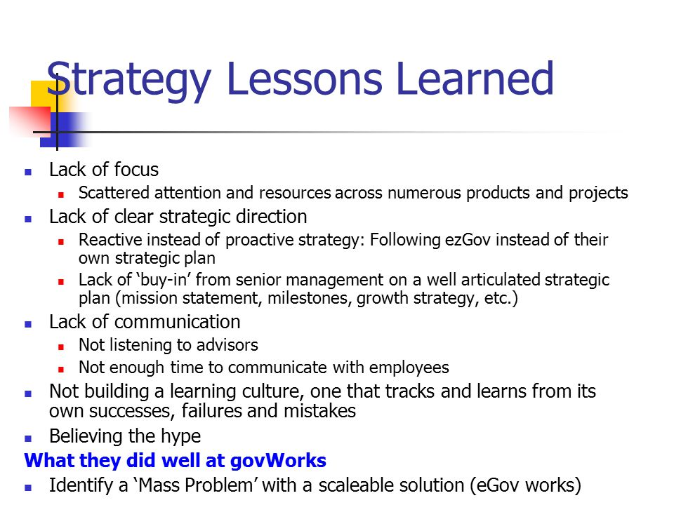 Strategy Lessons Learned